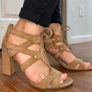 Laced light brown heels